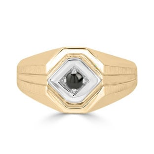 Black Onyx Men's Ring - Mens Solitaire Onyx Ring In Two Tone Gold