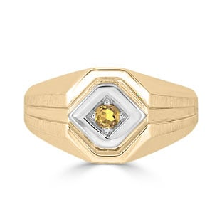 Citrine Men's Ring - Mens Solitaire Citrine Ring In Two Tone Gold