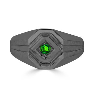 Emerald Men's Ring - Mens Solitaire Emerald Ring In Black Gold