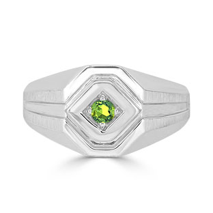 Peridot Men's Ring - Mens Solitaire Peridot Ring In White Gold