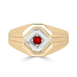 Ruby Men's Ring - Mens Solitaire Ruby Ring In Two Tone Gold