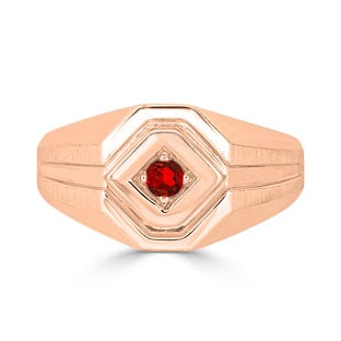 Ruby Men's Ring - Mens Solitaire Ruby Ring In Rose Gold