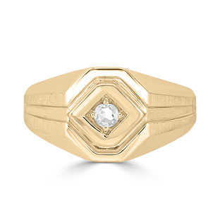 Diamond Men's Ring - Mens Solitaire 1/6CT Diamond Ring In Yellow Gold