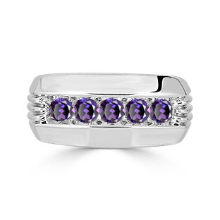 Mens Alexandrite Ring - 5 Stone Alexandrite Mens Ring In Sterling Silver