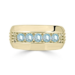 Mens Aquamarine Ring - 5 Stone Aquamarine Mens Ring In Yellow Gold