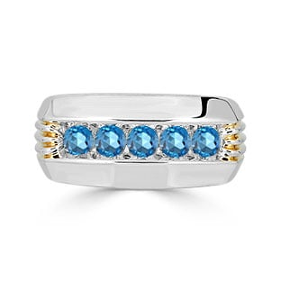 Mens Blue Topaz Ring - 5 Stone Topaz Mens Ring In Two Tone Gold