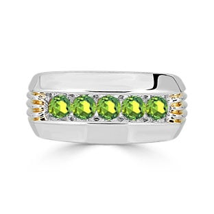 Mens Peridot Ring - 5 Stone Peridot Mens Ring In Two Tone Gold
