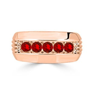 Mens Ruby Ring - 5 Stone Ruby Mens Ring In Rose Gold