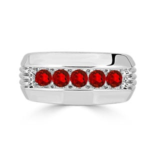 Mens Ruby Ring - 5 Stone Ruby Mens Ring In Sterling Silver