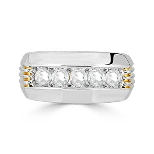Mens Diamond Ring - 5 Stone Diamond 1CT Mens Ring In Two Tone Gold