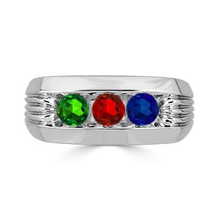 Men's Personalized Birthstone Ring - 3 Stone Birthstone Mens Ring In Silver