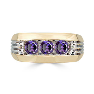 Men's Alexandrite Ring - 3 Stone Alexandrite Mens Ring In Two Tone Gold