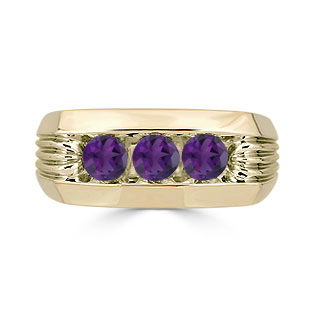 Men's Amethyst Ring - 3 Stone Amethyst Mens Ring In Yellow Gold