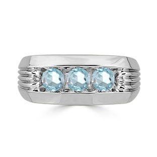 Men's Aquamarine Ring - 3 Stone Aquamarine Mens Ring In Sterling Silver