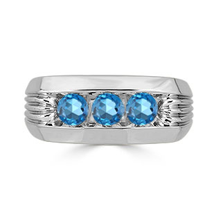 Men's Blue Topaz Ring - 3 Stone Topaz Mens Ring In Sterling Silver