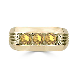 Men's Citrine Ring - 3 Stone Citrine Mens Ring In Yellow Gold