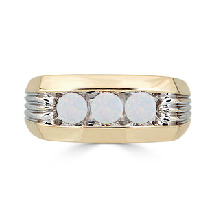 Men's Opal Ring - 3 Stone Opal Mens Ring In Two Tone Gold