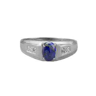 Men's Lapis and Diamond Rings, White Gold Jewelry