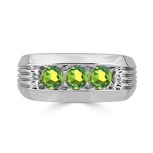 Men's Peridot Ring - 3 Stone Peridot Mens Ring In White Gold