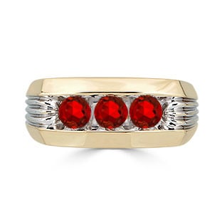 Men's Ruby Ring - 3 Stone Ruby Mens Ring In Two Tone Gold