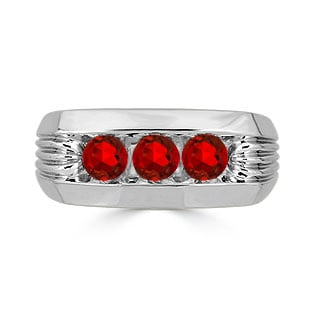 Men's Ruby Ring - 3 Stone Ruby Mens Ring In Sterling Silver