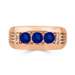 Men's Sapphire Ring - 3 Stone Sapphire Mens Ring In Rose Gold