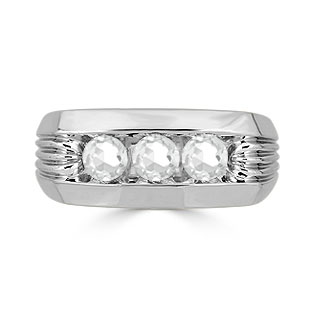 Men's White Topaz Ring - 3 Stone Topaz Mens Ring In White Gold