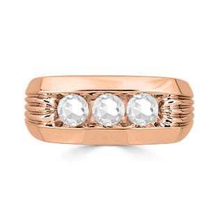 Men's White Topaz Ring - 3 Stone Topaz Mens Ring In Rose Gold