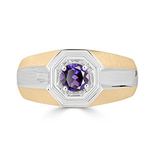 Solitaire Alexandrite Mens Ring - Men's Alexandrite Ring In Two Tone Gold