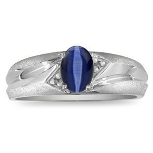Men's Midnight Blue Cat Eye Diamond Satin-Polished Finish White Gold Ring