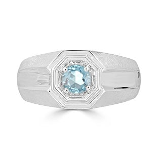 Solitaire Aquamarine Mens Ring - Men's Aquamarine Ring In White Gold