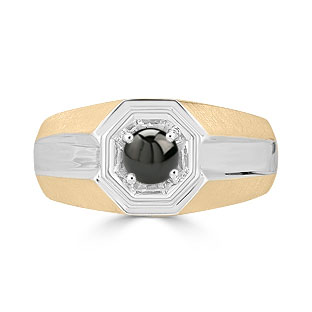 Solitaire Black Onyx Mens Ring - Men's Onyx Ring In Two Tone Gold