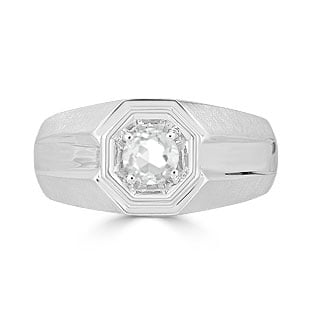 Solitaire White Topaz Mens Ring - Men's Topaz Ring In White Gold