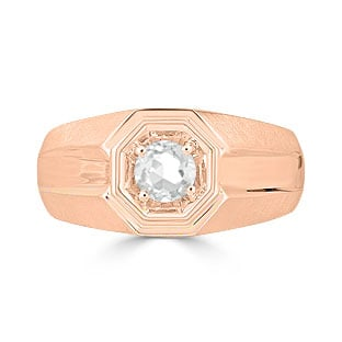 Solitaire White Topaz Mens Ring - Men's Topaz Ring In Rose Gold