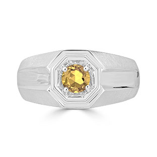 Solitaire Citrine Mens Ring - Men's Citrine Ring In Silver
