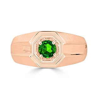 Solitaire Emerald Mens Ring - Men's Emerald Ring In Rose Gold