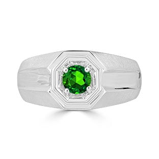 Solitaire Emerald Mens Ring - Men's Emerald Ring In Silver