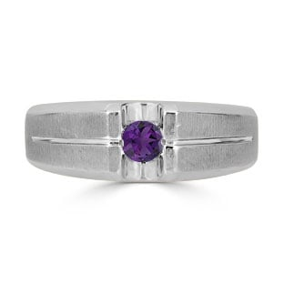 Mens Amethyst Ring - Solitaire Amethyst Men's Ring In White Gold