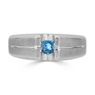 Mens Blue Topaz Ring - Solitaire Topaz Men's Ring In Sterling Silver