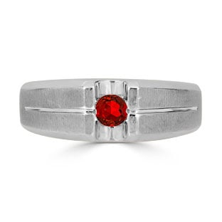 Mens Ruby Ring - Solitaire Ruby Men's Ring In Sterling Silver