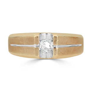 Mens White Topaz Ring - Solitaire Topaz Men's Ring In Two Tone Gold