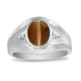 Men's Oval Brown Cat Eye Diamond Dual Finish White Gold Ring