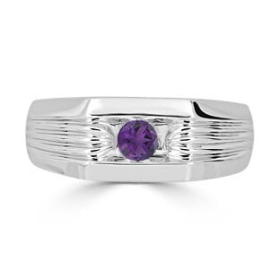 Men's Amethyst Stone Ring - Solitaire Amethyst Men's Ring In White Gold