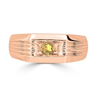 Men's Citrine Stone Ring - Solitaire Citrine Men's Ring In Rose Gold