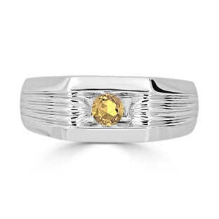 Men's Citrine Stone Ring - Solitaire Citrine Men's Ring In Silver