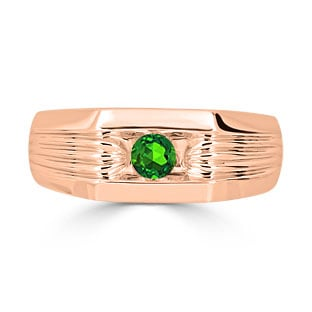 Men's Emerald Stone Ring - Solitaire Emerald Men's Ring In Rose Gold