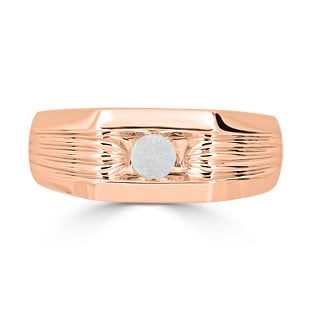 Men's Opal Stone Ring - Solitaire Opal Men's Ring In Rose Gold