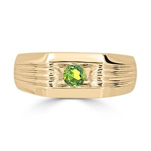 Men's Peridot Stone Ring - Solitaire Peridot Men's Ring In Yellow Gold