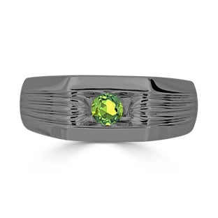 Men's Peridot Stone Ring - Solitaire Peridot Men's Ring In Black Gold