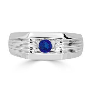 Men's Sapphire Stone Ring - Solitaire Sapphire Men's Ring In White Gold